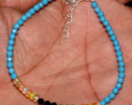 Sleeping Beauty Turquoise, Welo Opal & Black Spinel Beads Bracelet 66