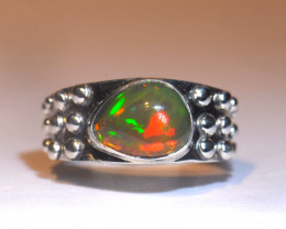 6.25 DARK RED INTENSE  WELO OPAL STERLING RING