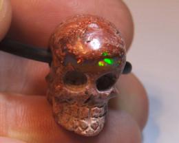 Mexican Cantera Opal Skull Pendant