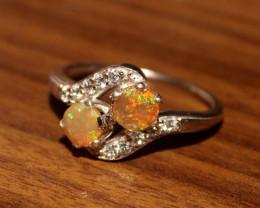 Ethiopian Welo Fire Opal Zircon 925 Sterling Silver Ring Size (7 US) 30