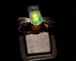 Ethiopian Welo Fire Opal 925 Sterling Silver Ring Size (6 3/4 US) 56