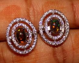Ethiopian Welo Fire Smoked Opal 925 Sterling Silver Stud Earrings 269