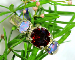 16.65 CTS OPAL DOUBLET WITH GARNET RING SIZE 8  [SOJ6515]