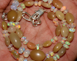 75 Crts Natural Ethiopian Welo Opal Oval & Rondelle Beads Necklace 8