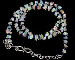 Natural Ethiopian Welo Fire Uncut Opal & Lapis Lazuli Necklace 2
