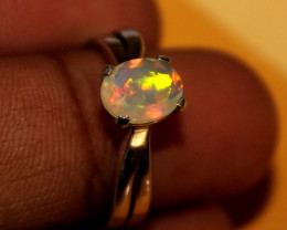 Ethiopian Welo Faceted Opal 925 Silver Ring Jewlery Size (7 US) 61