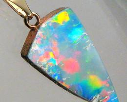 Genuine  Australian Opal Doublet Pendant 14kt Gold Gift Gem Jewelry 4.8 car