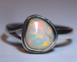 7SZ BRILLIANT WELO OPAL STERLING RING