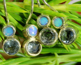 15.15 CTS PARCEL DEAL OF EARRINGS CRYSTAL OPAL WITH TOPAZ  [SOJ6538]