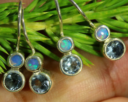 15.30 CTS PARCEL DEAL OF EARRINGS CRYSTAL OPAL WITH TOPAZ [SOJ6540]
