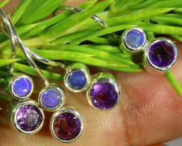 14.50 CTS PARCEL DEAL OF EARRINGS CRYSTAL OPAL WITH AMETHYST [SOJ6541]