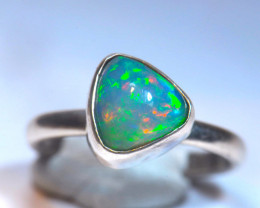 3SZ  MIDI RING BLUE WELO OPAL STERLING RING