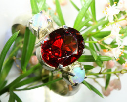 18.20 CTS SINGLE DEAL OFGARNET/SOLID OPAL  RING SIZE 8 [SOJ6557]