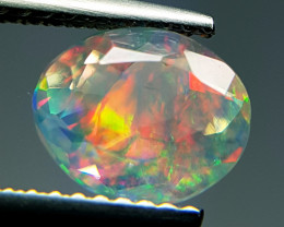 "1.32 ct  "" Play of Fire"" Natural Ethiopian Fire Opal  Oval Cut"