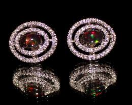 Ethiopian Welo Fire Smoked Opal 925 Sterling Silver Stud Earrings 268