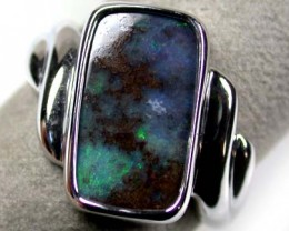 BEAUTIFUL GREEN & BLUE FLASH BOULDER OPAL RING SIZE 9 SCA69