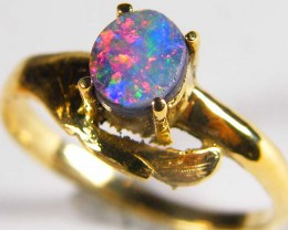 BRILLIANT MULTI FIRE BOULDER OPAL 18K GOLD RING SIZE 6 SCA83