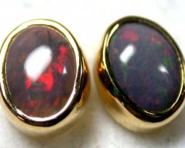 SUNSET RED JELLY FLASH BLACK OPAL 18K EARRING 2.2 CTS SCA238