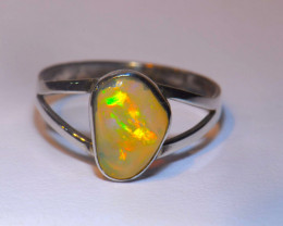 7.5SZ STERLING SILVER SOLID OPAL RING