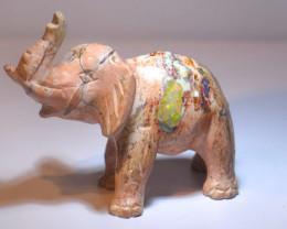 102.5CT STONE CARVED BRIGHT MATRIX OPAL  ELEPHANT