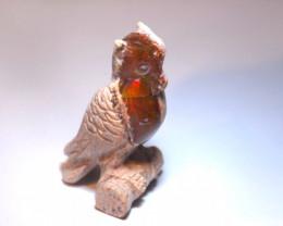 75CT STONE CARVED BRIGHT MATRIX OPAL  OWL