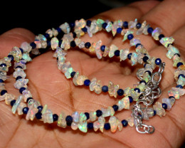 Natural Ethiopian Welo Fire Uncut Opal & Lapis Lazuli Necklace 9