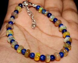 Natural Ethiopian Welo Fire Opal Beads & Lapis Lazuli Balls Bracelet 15