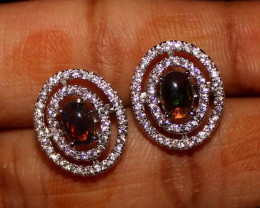 Ethiopian Welo Fire Smoked Opal 925 Silver Stud Earrings 271