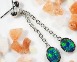 Triplet Opal set in silver Earrings WS