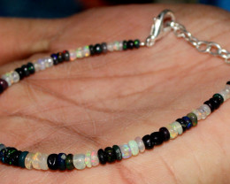 Natural Ethiopian Welo Fire Opal & Smoked Opal Beads Bracelet 33