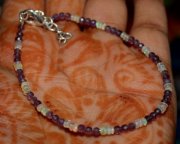 Natural Ethiopian Welo Fire Opal & Faceted Amethyst Beads Bracelet