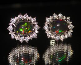 Natural Ethiopian Welo Fire Smoked Opal 925 Silver Stud Earrings 296