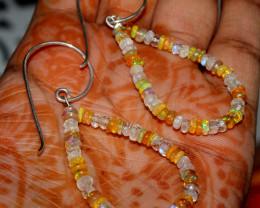 Natural Ethiopian Welo Fire Opal & Rainbow Beads Bracelet 23