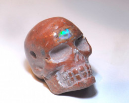 48CT PENDANT  SKULL FIRE MATRIX OPAL  BRIGHT CARVED