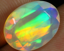 Faceted 2.55cts Bamboo Leaf Pattern Natural Ethiopian Welo Opal