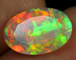 Faceted 2.60cts Incredible Strong Fire Play Natural Ethiopian Welo Opal