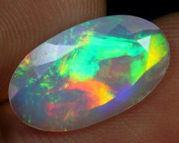 Faceted 2.70cts 5/5 Rainbow Fire Natural Ethiopian Welo Opal