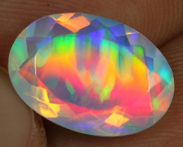Faceted 3.1cts Double Peacock Feather Natural Ethiopian Welo Opal