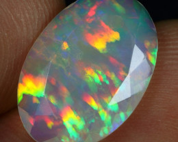 Faceted 3.00cts AAA Parrot Feather Pattern Natural Eth Welo Opal