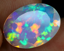 Faceted 4.20cts Top 5/5 Icy Blue Rainbow Fire Natural Eth Welo Opal