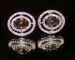 Natural Ethiopian Welo Fire Smoked Opal Stud Earrings 269
