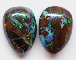 9.20CT VIEW PAIR QUEENSLAND BOULDER OPAL AA59