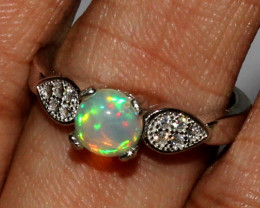 Natural Ethiopian Welo Fire 925 Silver Opal Ring Size ( 6 US ) 4