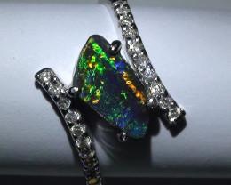 14.15 ct 18k Solid Gold Gem Boulder Opal Diamond Ring