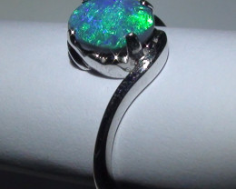 13.80 ct 18k Solid Gold Gem Lightning Ridge Black Opal Diamond Ring