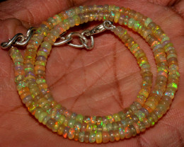 36 Crts Natural Ethiopian Welo Fire Opal Beads Necklace 48