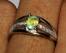 Natural Ethiopian Welo Fire Opal 925 Silver Ring Size 5.5 US 3