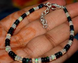 Ethiopian Welo Fire Opal & Smoked Opal Beads Bracelet 45
