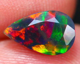 1.37Ct Rainbow Patchwork Ethiopian Welo Black Smoked Faceted Opal ~ D09/9