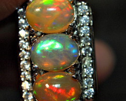 73.65crt PAIR WELLO OPAL BRILLIANT BRIGHT ALPAKA RING